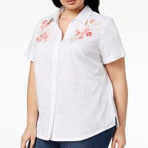 NWT Karen Scott Cotton Embroidered Swiss Dot Shirt